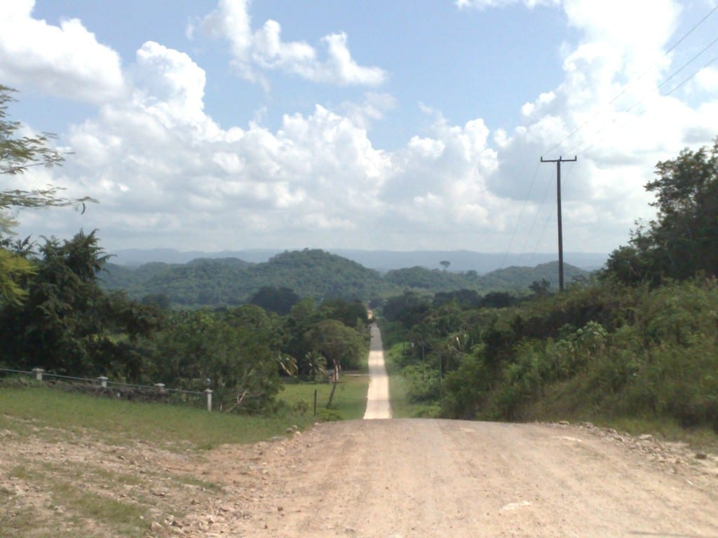 The public road approaching the property.